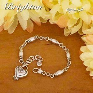 Brighton Bracelet Double Link Barrel Link Heart Charm Silver